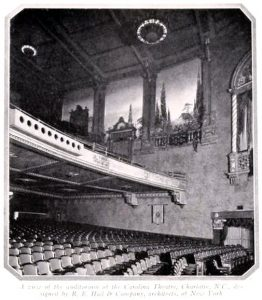 A black and white photograph of the Carolina Theatre. The theatre is among the most haunted places in Charlotte and is said to be haunted by a ghost named Fred.
