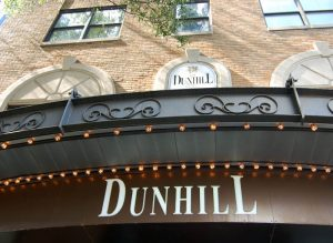 The gloomy exterior of the haunted Dunhill Hotel, rumored to be haunted by spirits such as phantom skulls, suicidal businessmen, and ghostly disembodied hands.